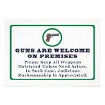 Los armas son agradables en muestra de las premisa invitaciones personalizada