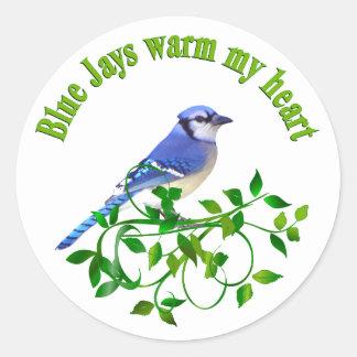 Los arrendajos azules calientan mi corazón pegatina redonda