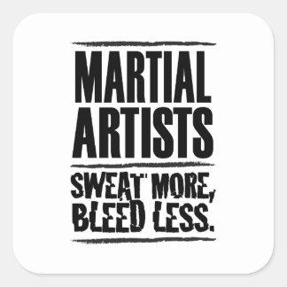Los artistas marciales sudaron más, corrimiento pegatina cuadrada
