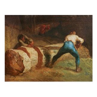 Los aserradores de madera, 1848 tarjeta postal