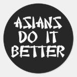Los asiáticos mejora etiquetas redondas