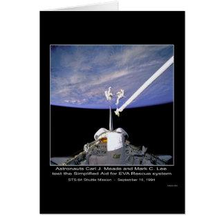 Los astronautas Meade y Lee prueban la ayuda simpl Tarjeta De Felicitación