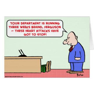 los ataques del corazón tienen que parar tarjeta de felicitación
