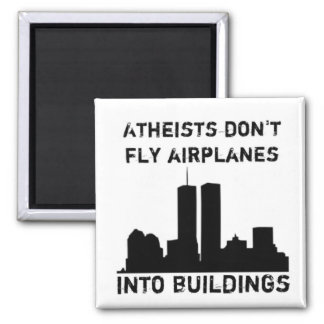 Los ateos no vuelan los aeroplanos en edificios imán cuadrado