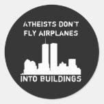 Los ateos no vuelan los aeroplanos en edificios pegatinas redondas
