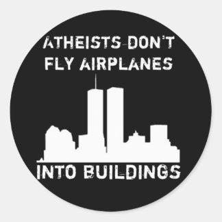 Los ateos no vuelan los aeroplanos en edificios etiquetas redondas