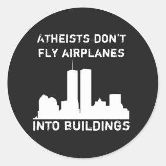 Los ateos no vuelan los aeroplanos en edificios pegatina redonda