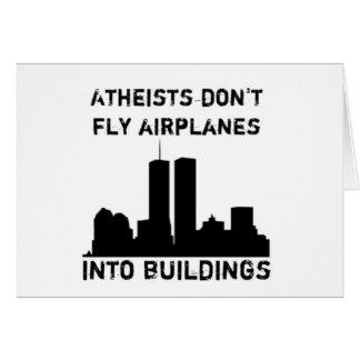 Los ateos no vuelan los aeroplanos en edificios tarjeta de felicitación