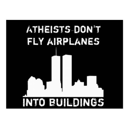 Los ateos no vuelan los aeroplanos en edificios tarjeta postal