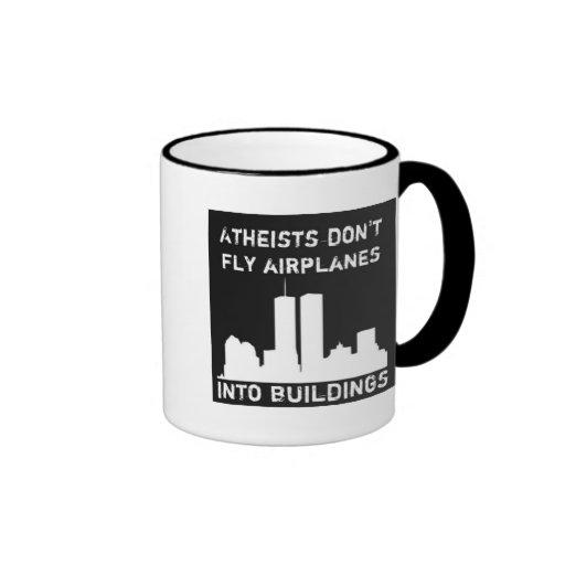 Los ateos no vuelan los aeroplanos en edificios taza de dos colores