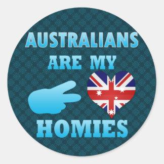 Los australianos son mi Homies Pegatina Redonda