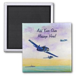 Los aviones del vintage - ahorre la fecha imán cuadrado