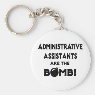 ¡Los ayudantes administrativos son la bomba! Llavero Redondo Tipo Pin