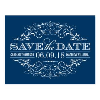 Los azules marinos ahorran el remolino de la fecha tarjeta postal