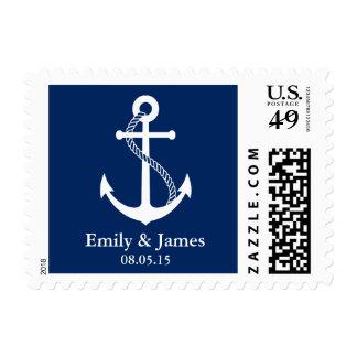 Los azules marinos anclan el boda náutico sello postal