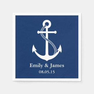 Los azules marinos anclan el boda náutico servilleta de papel