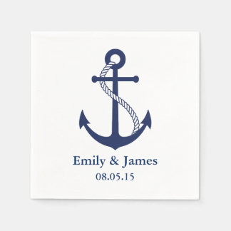 Los azules marinos anclan el boda náutico servilletas desechables