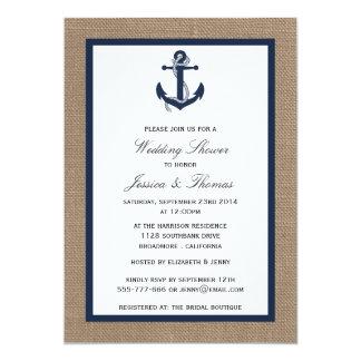 """Los azules marinos anclan en ducha náutica del invitación 5"""" x 7"""""""