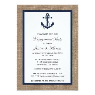"""Los azules marinos anclan en el compromiso náutico invitación 5"""" x 7"""""""