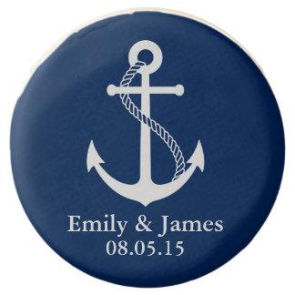 Los azules marinos anclan favor náutico del boda
