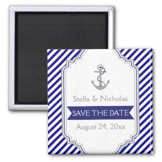 Los azules marinos anclan reserva náutica del boda imán cuadrado