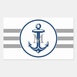 Los azules marinos anclan y el pegatina del