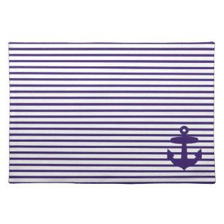 Los azules marinos anclan y las rayas del marinero mantel