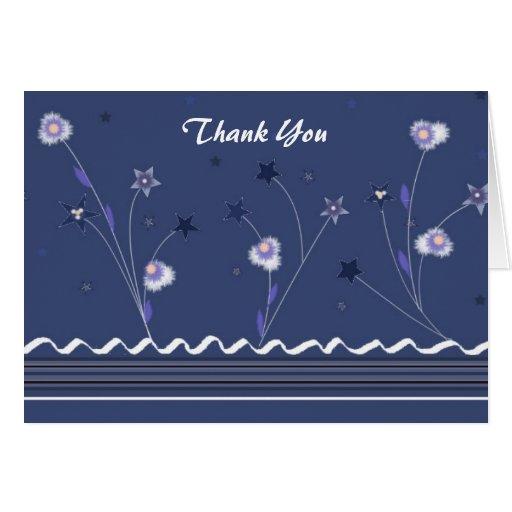 Los azules marinos florales le agradecen tarjetas