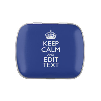 Los azules marinos guardan calma y tienen su texto latas de caramelos