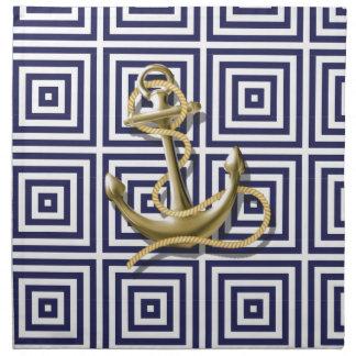 los azules marinos modelan el ancla náutica de muy servilleta imprimida