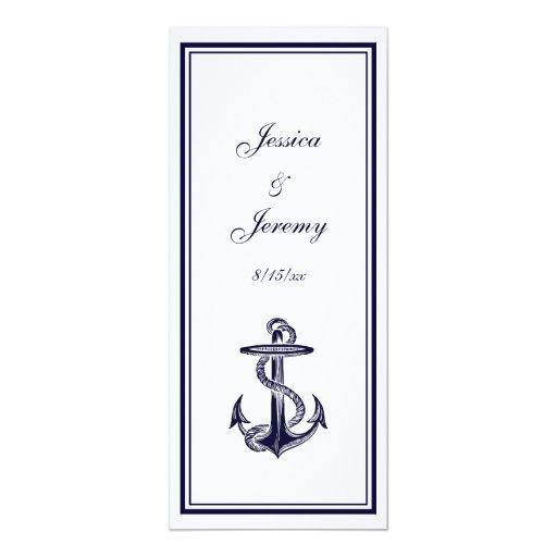 """Los azules marinos náuticos del ancla enmarcaron invitación 4"""" x 9.25"""""""