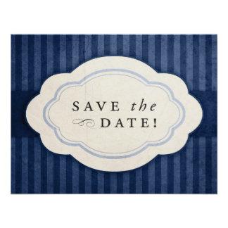 Los azules marinos rústicos del vintage ahorran la anuncio personalizado