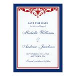 Los azules marinos y el boda rojo del Flourish Invitación 12,7 X 17,8 Cm