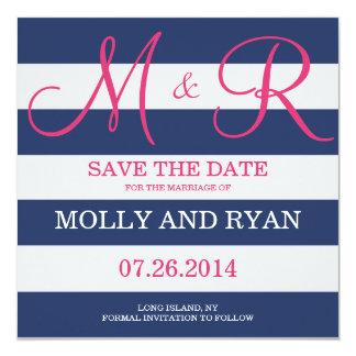 Los azules marinos y el monograma rosado ahorran invitacion personal