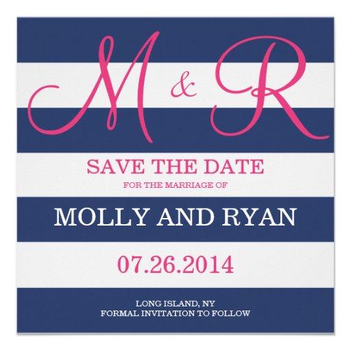 Los azules marinos y el monograma rosado ahorran l invitacion personal