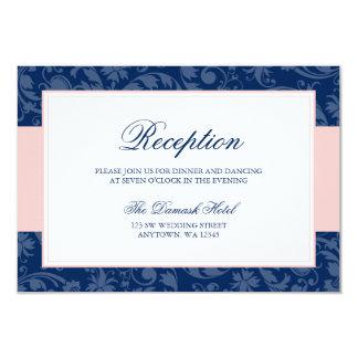 """Los azules marinos y se ruborizan recepción rosada invitación 3.5"""" x 5"""""""