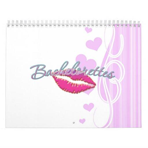 los bachelorettes rosados de los labios van de fie calendarios
