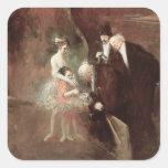 Los bailarines, c.1925 (aceite en lona) calcomanía cuadradase