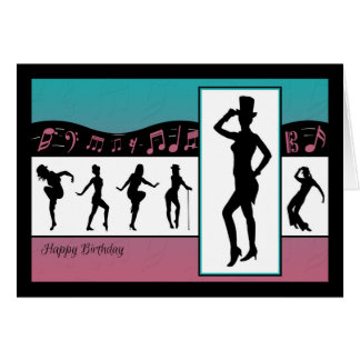 Los bailarines del jazz con música observan la tarjeta de felicitación