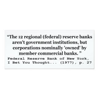 Los bancos de Federal Reserve no son gobierno Invitaciones Personalizada