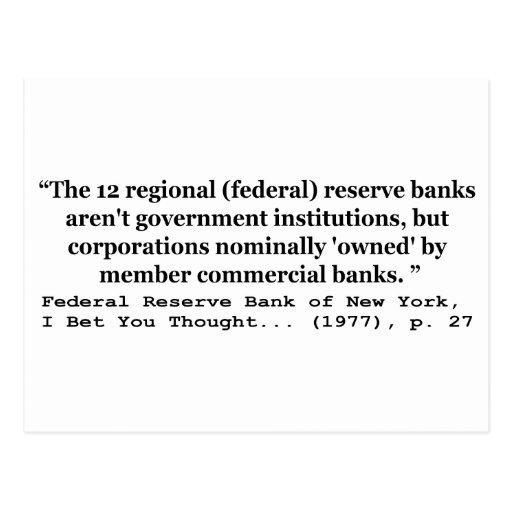 Los bancos de Federal Reserve no son gobierno Tarjetas Postales