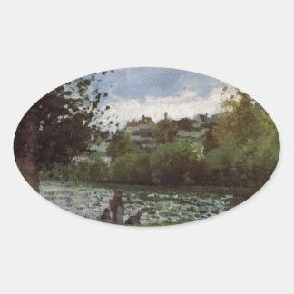 Los bancos del Oise en Pontoise Camille Pissarro Pegatina Ovalada