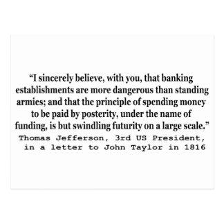 Los bancos son más peligrosos que los ejércitos postal