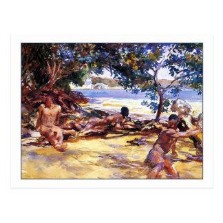 Los bañistas de John Singer Sargent Tarjetas Postales