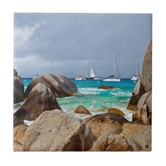 Los baños, Virgen Gorda, British Virgin Islands Azulejo Cuadrado Pequeño