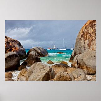 Los baños, Virgen Gorda, British Virgin Islands Póster