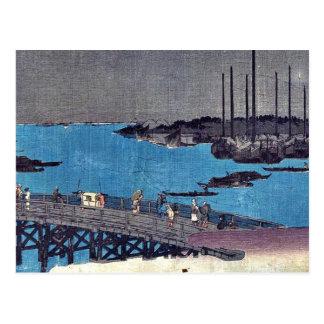 Los barcos amarraron cerca del puente de Eitai por Tarjeta Postal
