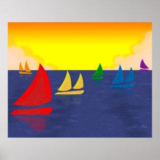 Los barcos del arco iris alisan la navegación impresiones