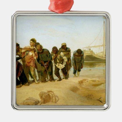 Los barqueros en el Volga, 1870-73 Adorno Navideño Cuadrado De Metal