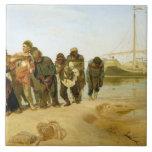 Los barqueros en el Volga, 1870-73 Azulejo Cuadrado Grande